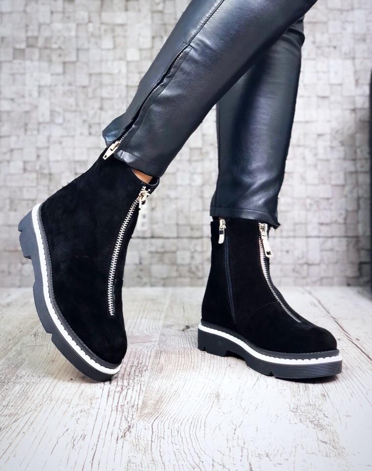Натуральные замшевые кожаные ботинки 36 37 38 39 40 кожа замша фото №1