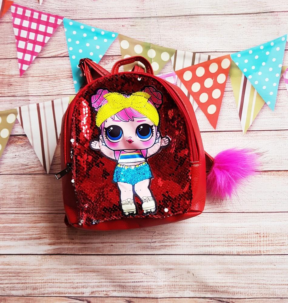 Рюкзак lol с пайетками перевертышами детский кукла лол эко-кожа кожаный фото №1