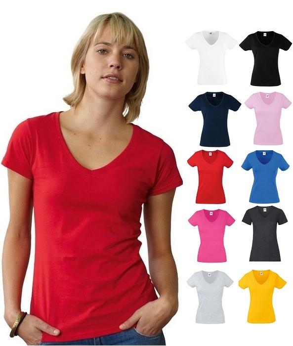 Женская футболка v-вырез 100% хлопок fruit of the loom фото №1