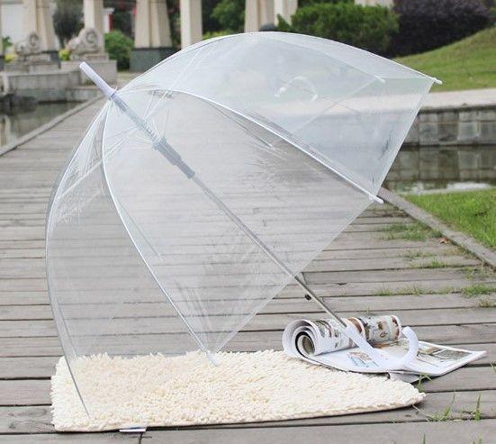 Прозрачный купольный детский зонт трость flagman для девочки 5-10 лет фото №1