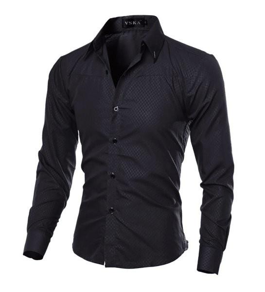 Рубашка в британском стиле длинный рукав  черная код 1 фото №1