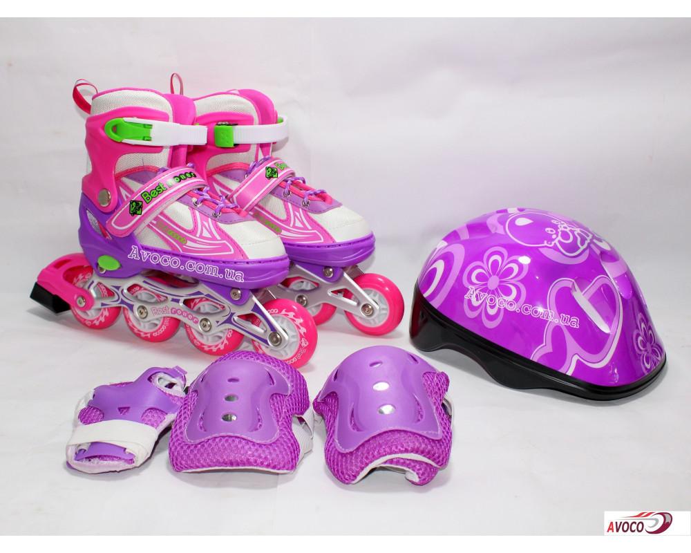Ролик corol set фиолетовый светятся колесо, обучающие колеса, 28-33, 34-38, 38-42 защита, шлем набор фото №1