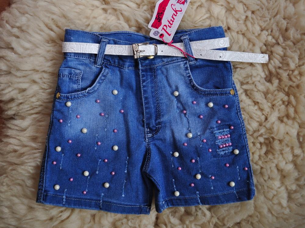 Модные джинсовые шорты, с бусинками, хит, от 4 до 12 лет, бусины пробиты, не приклеены фото №1