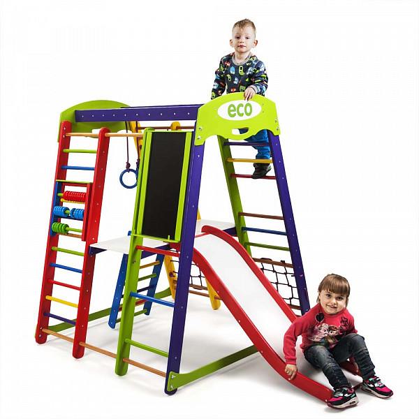 Детский спортивный комплекс для дома акварелька plus 3 с горкой, сеткой, кольцами, лесенкой фото №1