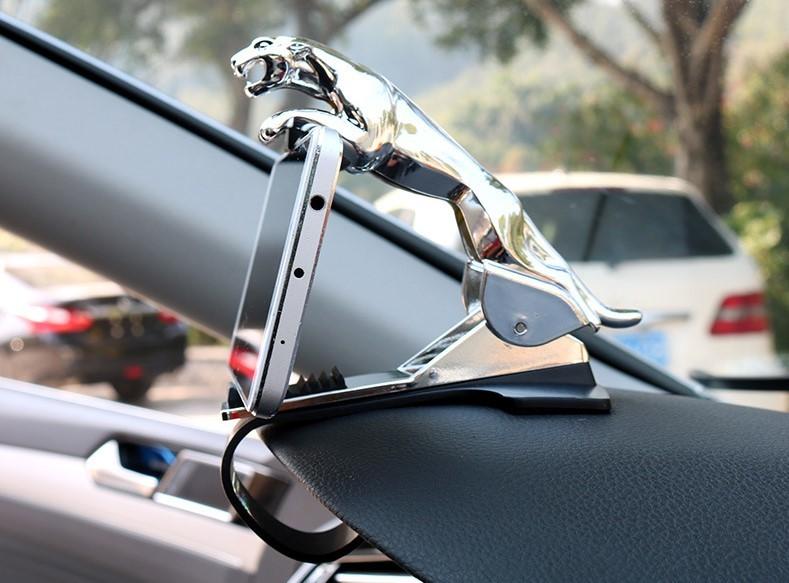 Держатель для телефона в автомобиль леопард. золото и серебро фото №1