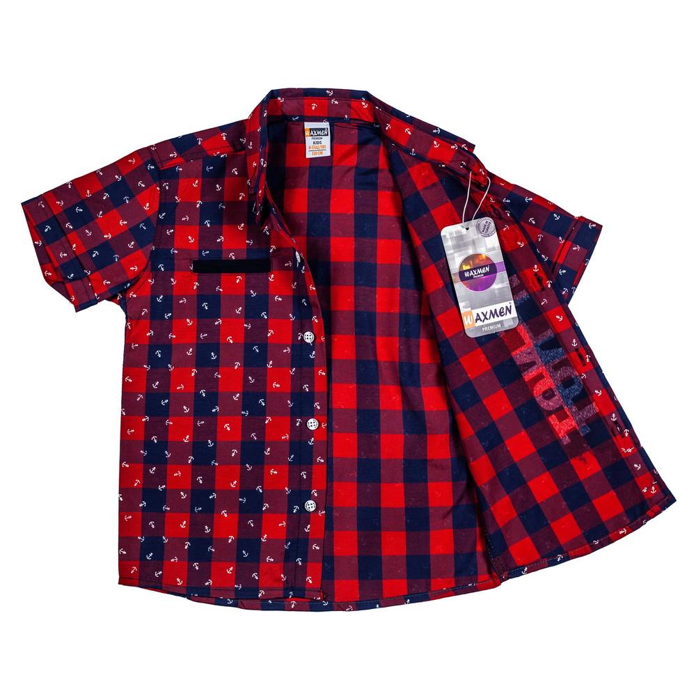 Клетчатая тениска с якорями на мальчика (размеры 6-9 лет) фото №1