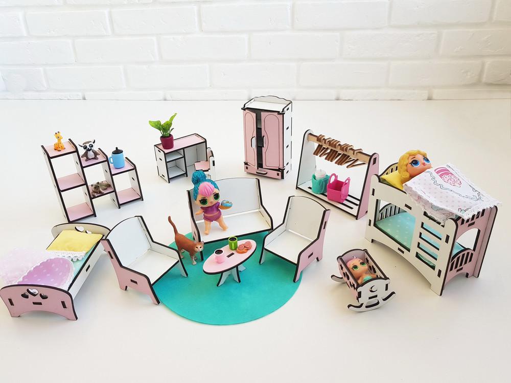 """Набор мебели nestwood """"спальня+гостиная+детская """" для кукол лол (lol), меблі для ляльок лол фото №1"""