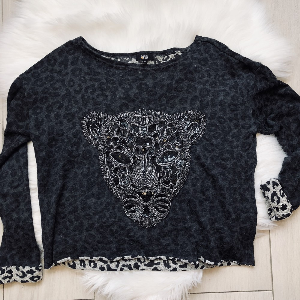 Свитшот с леопардом чёрный оверсайз (s,m,l) фото №1