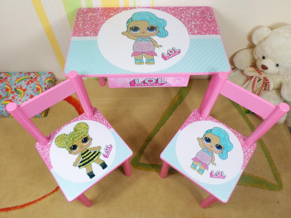 "Детский стол и стул ""куклы лол l.o.l"" столик стульчик фото №1"