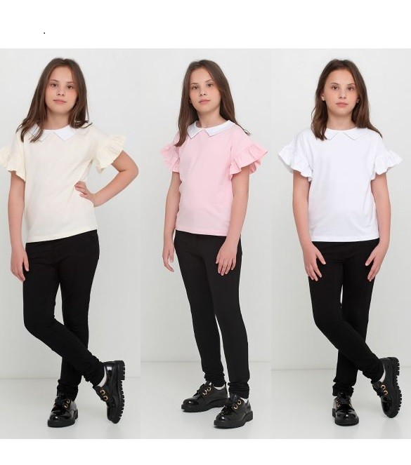 Трикотажная блузка с белым воротником фото №1