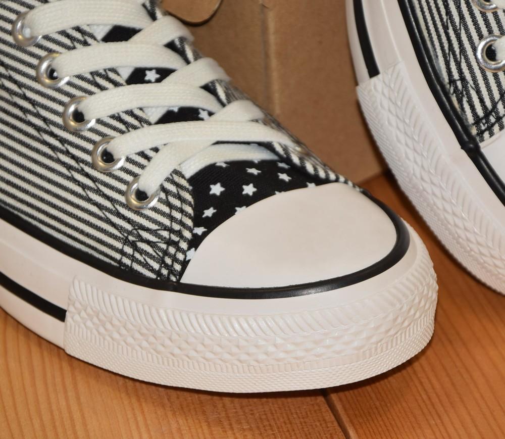 Кеды текстильные полосатые бело черные 36 37 38 39 40 реальные размеры фото №1