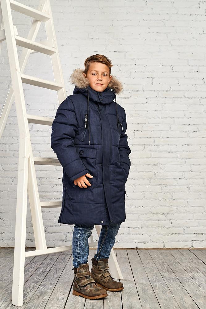 Зимняя куртка на мальчика 10-15 лет. размеры 140-164, 1918 синий фото №1