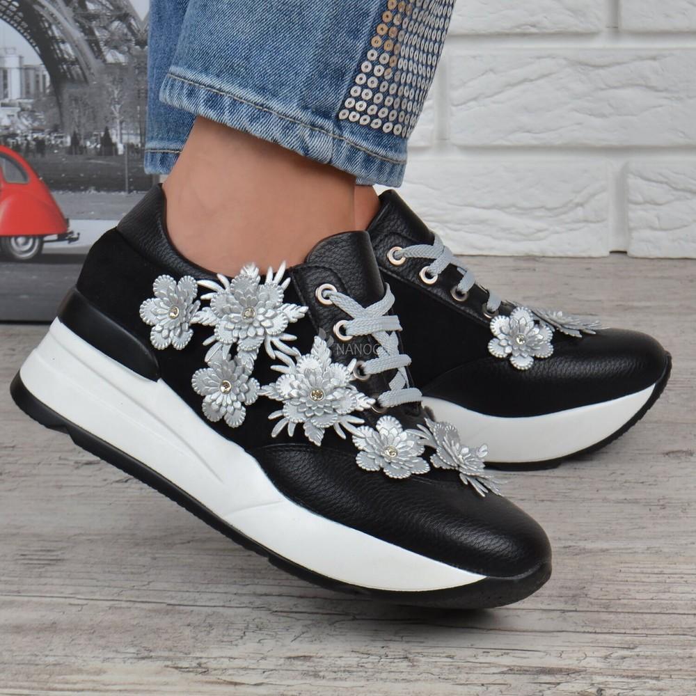 Кроссовки женские на платформе сникерсы liu jo черные серебро фото №1