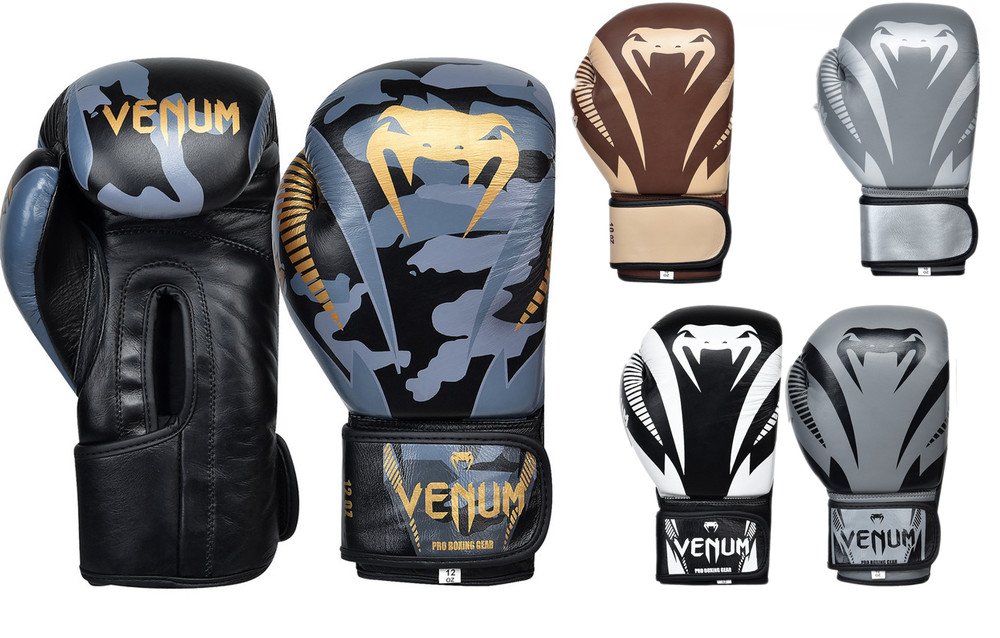 Перчатки боксерские кожаные на липучке venum giant 8316: 10-12 унций (5 цветов) фото №1