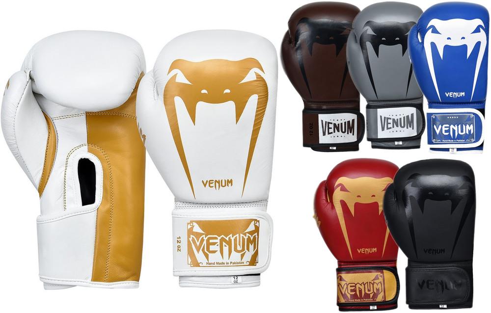Перчатки боксерские кожаные на липучке venum giant 8315: 10-12 унций (6 цветов) фото №1