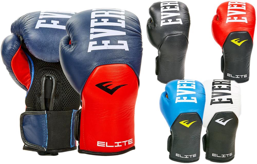 Перчатки боксерские кожаные на липучке elast 6757: 10-12 унций (5 цветов) фото №1