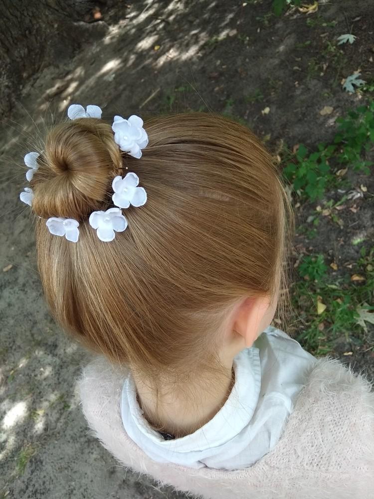 Нежная шпилька,  булавка,  свадебная,  цветы из шифона фото №1
