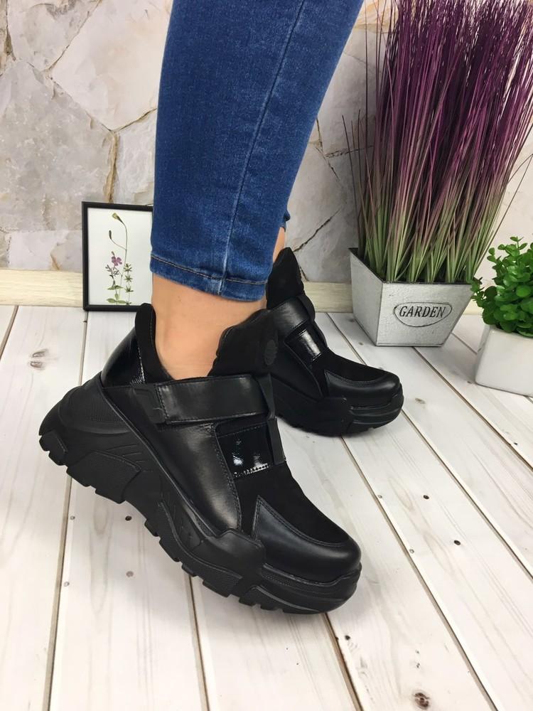 Женские кожаные спортивные ботинки, черные фото №1