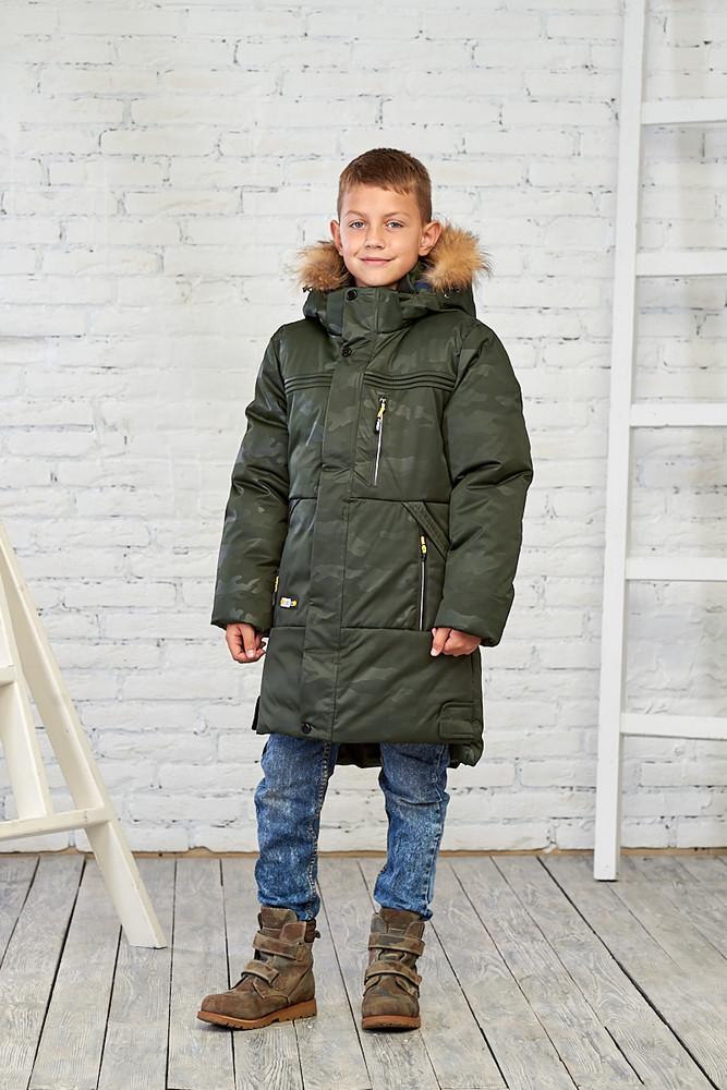 Камуфляжная зимняя куртка на мальчика 10-16 лет, 1076 (хаки камуфляж) фото №1