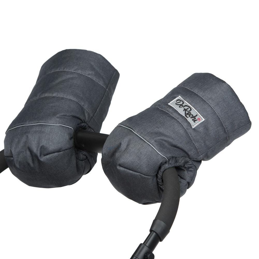 Муфта-рукавиці для рук на коляску на натуральній овчині доречі графітова фото №1