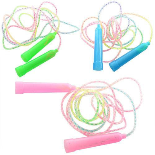 Скакалка 195см, веревка резина, пластик. ручки, 3 цвета фото №1