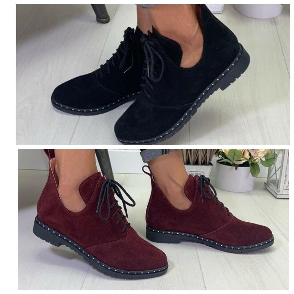 Замшевые туфли черные бордовые фото №1