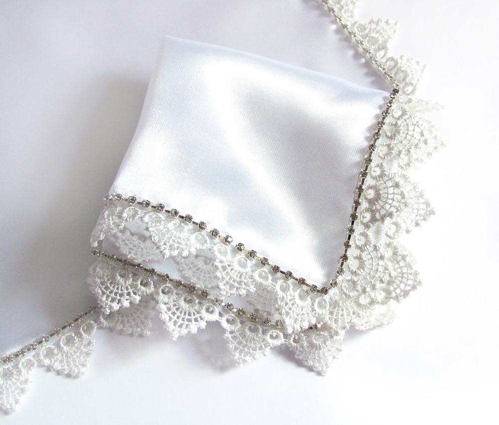 Платок со стразами люкс белый для венчания / свадьбы / крещения фото №1