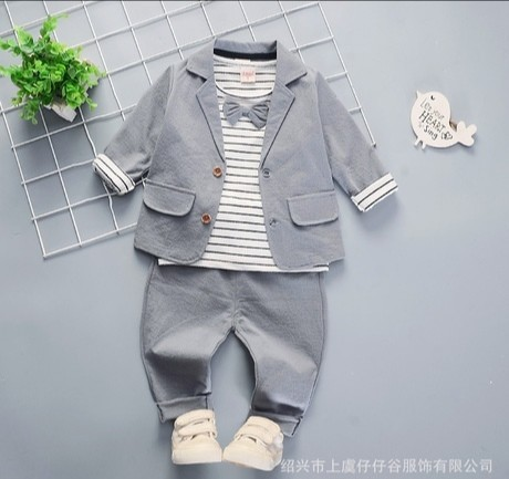 Однотонный нарядный костюм для мальчика. пиджак + реглан + брюки. фото №1