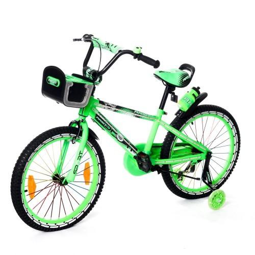 Велосипед двухколесный 20д 2086-20 салатовый со светящейся рамой и корзинкой фото №1