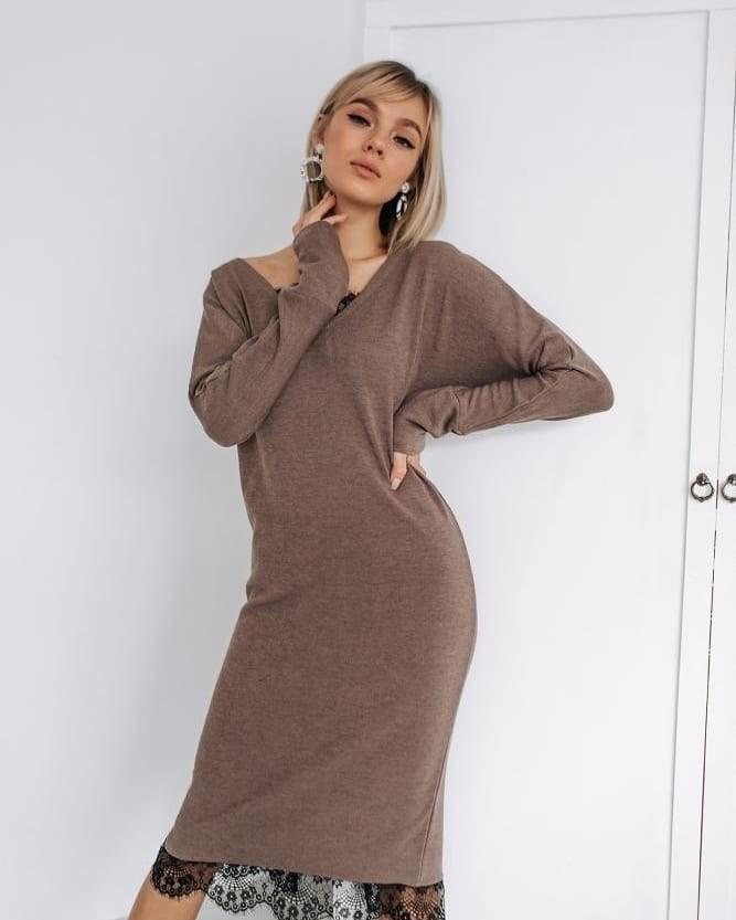 Новинка теплое, стильное и практичное платье с кружевом свободного кроя фото №1