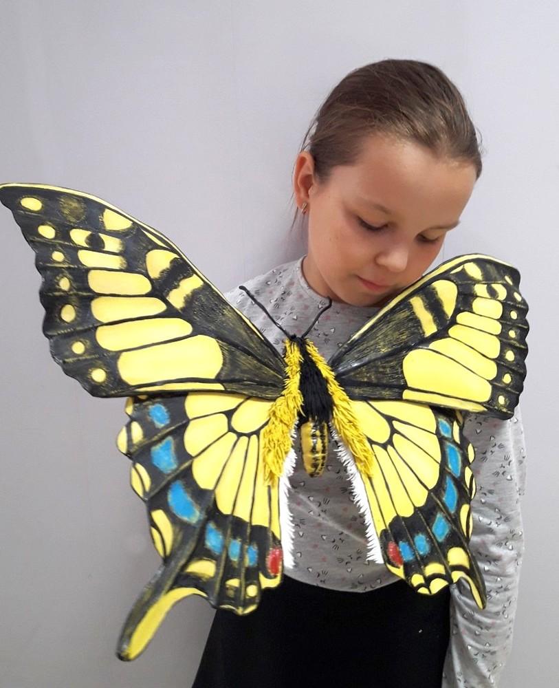 Бабочка интерьерная 55 см желтая фото №1