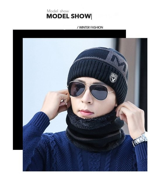 Мужская зимняя вязаная шапка wxt 3 цвета код 93 фото №1
