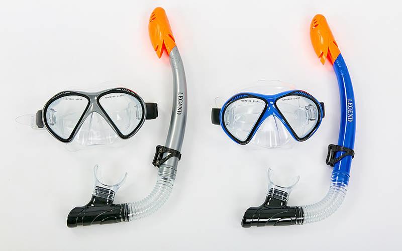 Набор для плавания маска с трубкой legend 293p-110: термостекло, pvc, пластик фото №1