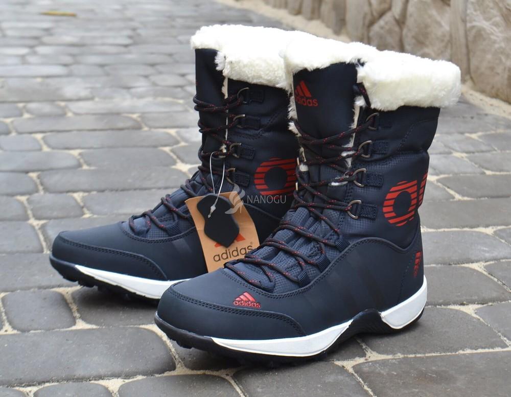 Adidas climaproof дутики женские кожаные зимние сапоги синие с красным фото №1