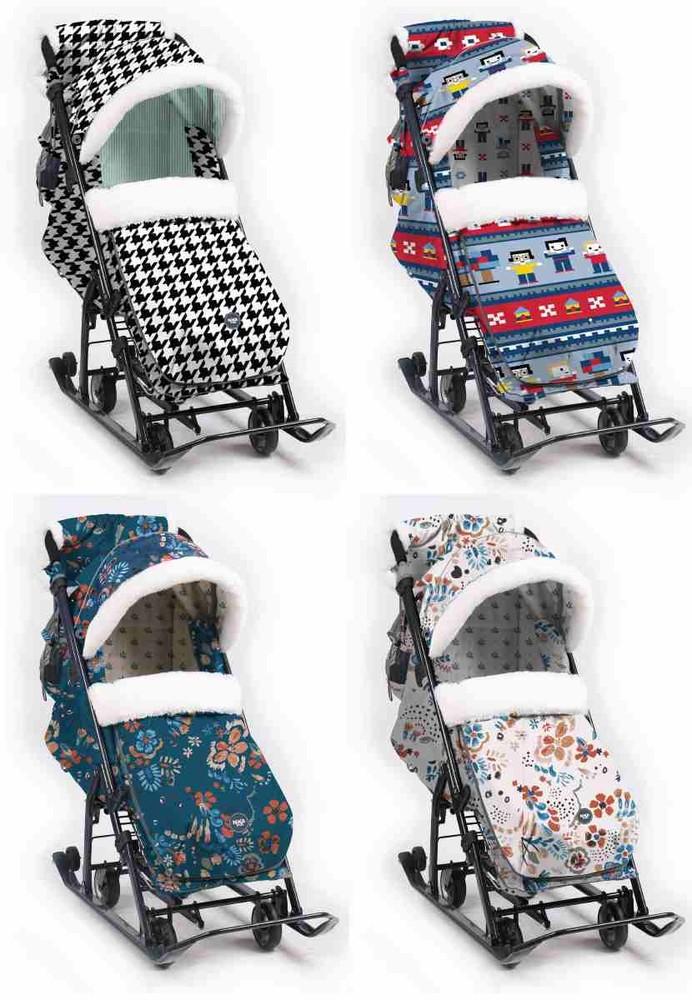 Санки-коляска с аксессуарами и колесами ника детям 2019/20 фото №1