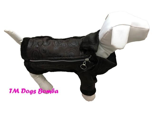 Куртка дубляж змейка для собак коричневые круги j-25 фото №1