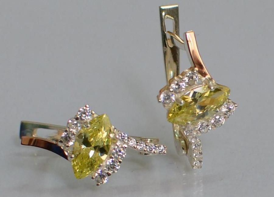 Серебряные серьги с золотыми вставками 171с фото №1