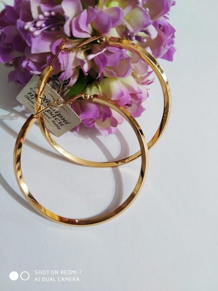 Шикарные серьги кольца. диаметр 5 см. медзолото, позолота 585. медицинское золото. фото №1