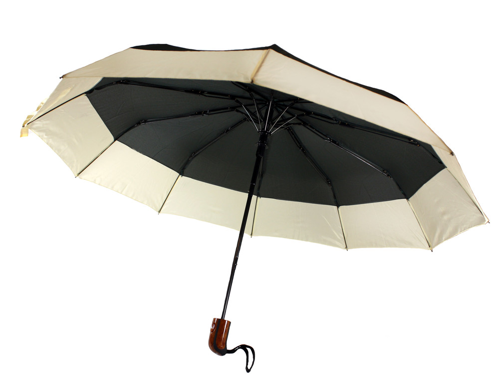 Зонт складной, полуавтомат, 10 спиц, черный фото №1