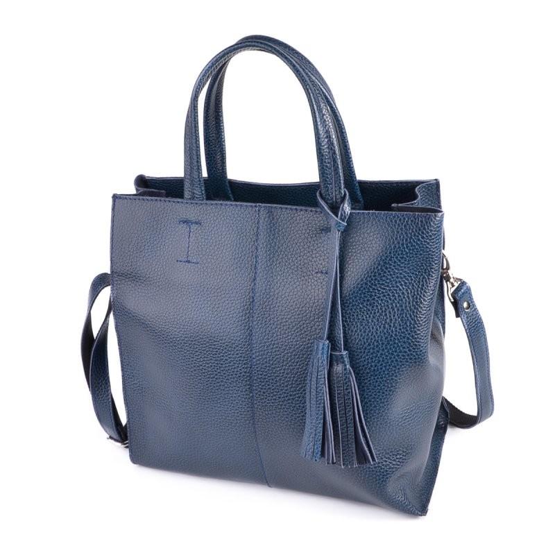 Синяя кожаная сумка м243 blue деловая с ремешком фото №1