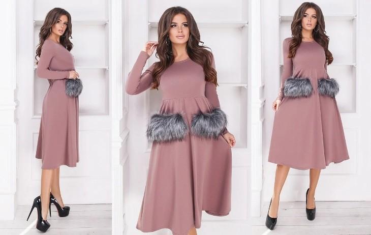 Стильное платье со съемный мехом в расцветках фото №1