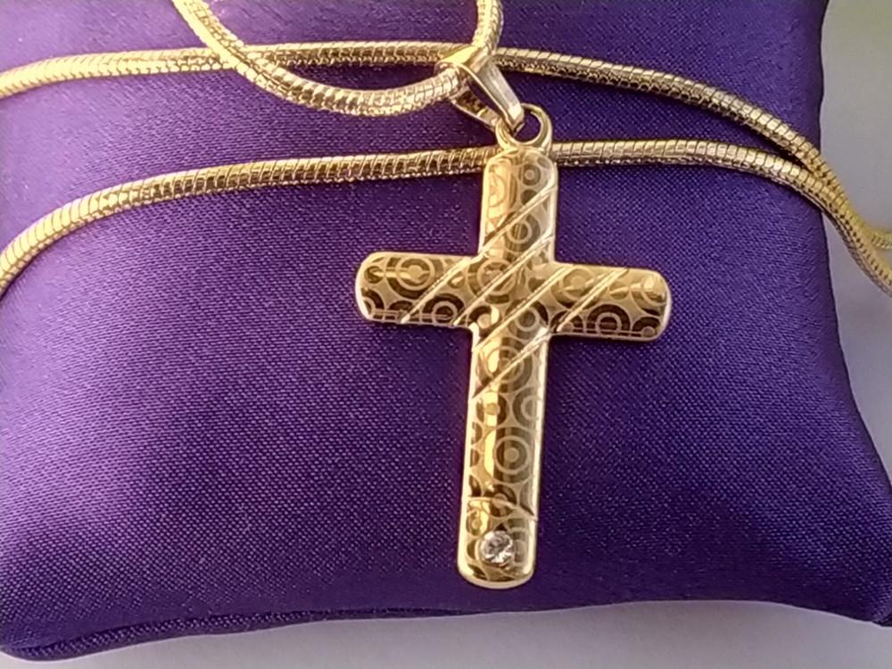 Позолоченный крестик с камнем, подвеска, позолота фото №1