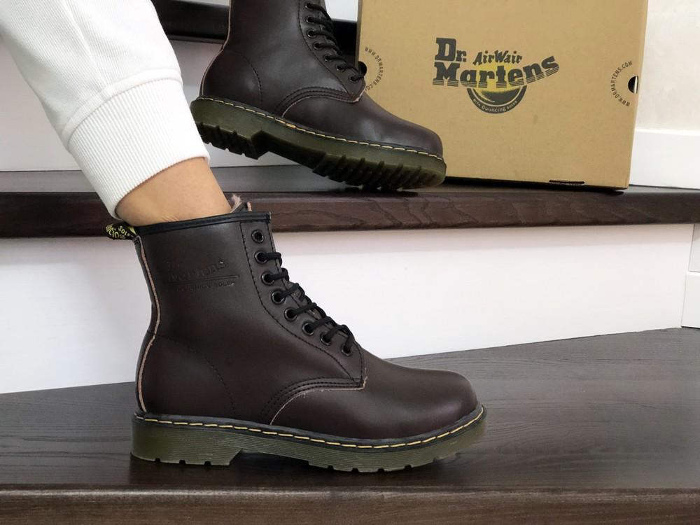 Зимние женские ботинки dr. martens dark brown , кожа фото №1