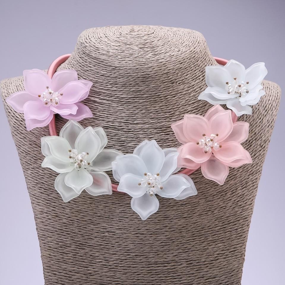 Колье на шнуре цветочное фото №1