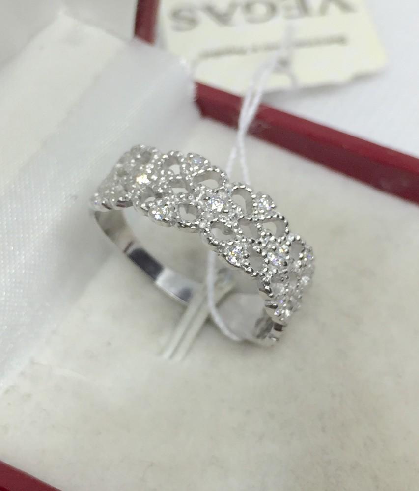 Новое родированое серебряное кольцо куб.цирконием серебро 925 пробы фото №1