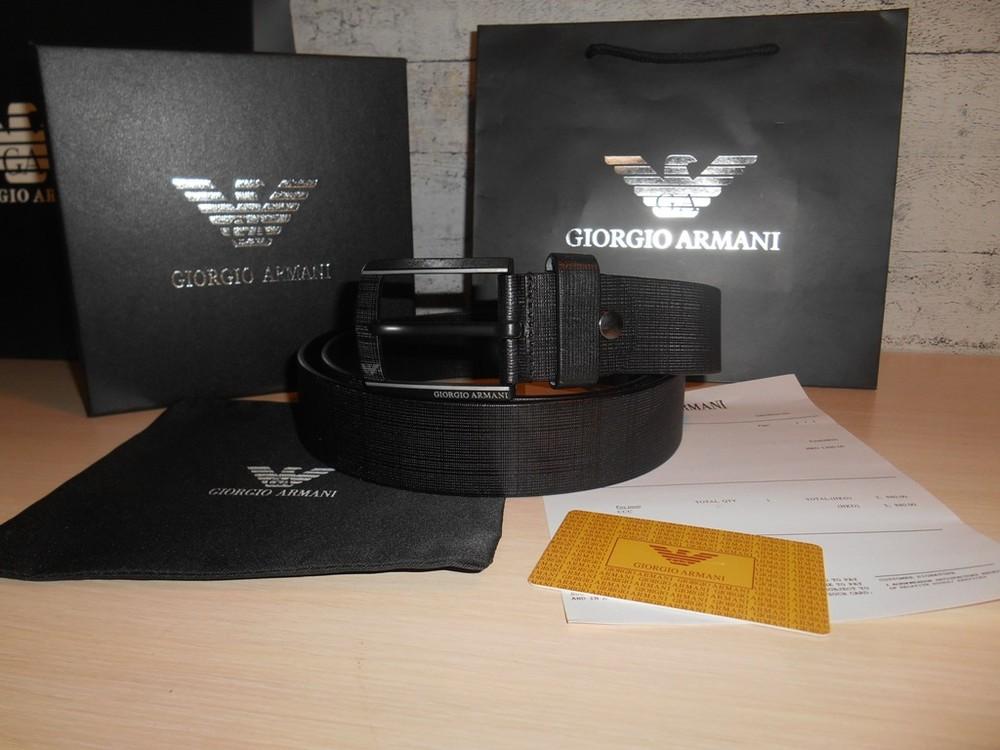 Мужской ремень пояс armani, кожа, италия, оригинал фото №1