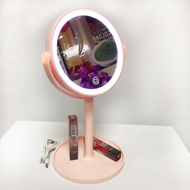 Косметическое круглое зеркало с подсветкой,розовое фото №1
