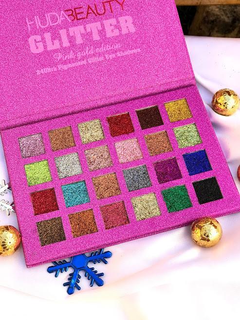 Палетка глиттеров huda beauty summer pink gold edition,24 оттенка фото №1