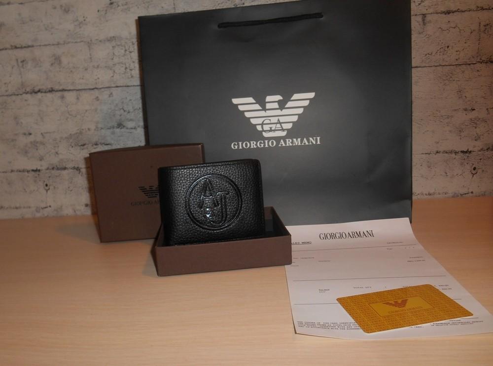 Мужской кошелек, портмоне, бумажник armani, кожа, италия фото №1