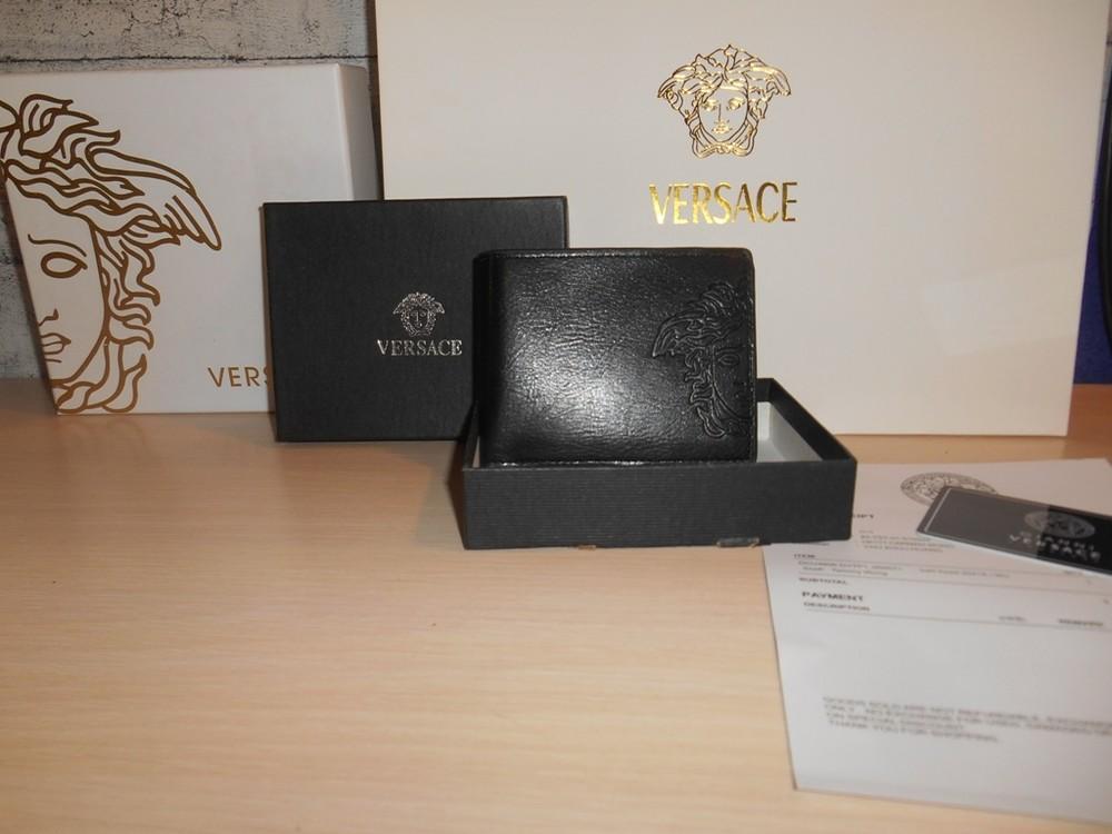 Мужской кошелек, портмоне, бумажник versace, кожа, италия фото №1